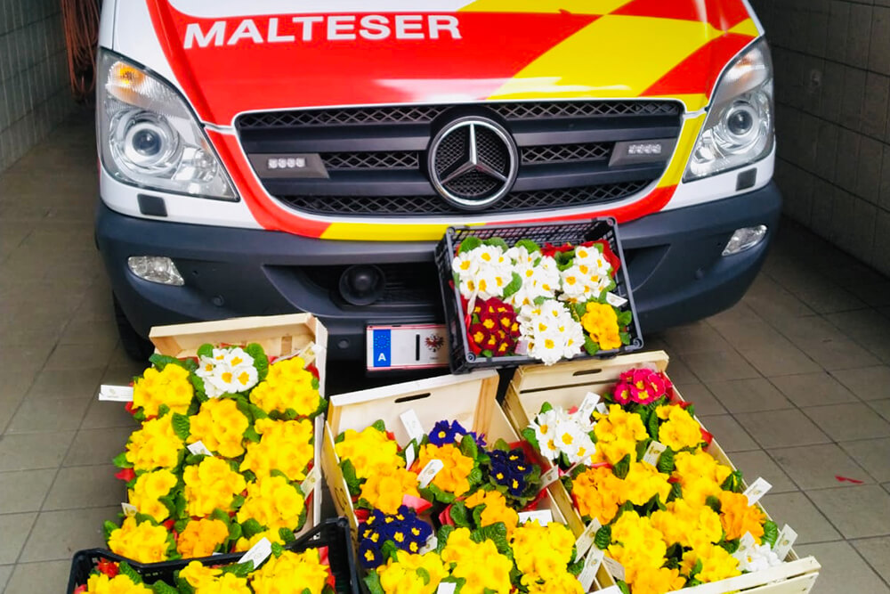 Malteser Tirol Blumengruss fuer Betreute Jaegerbauer 2